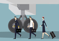 Aircrew. Captain, First Officer and Hostess Going To Aircraft. Royalty Free Stock Photos
