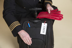 Aircrew checking flight bag contents Royalty Free Stock Image