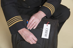 Aircrew flight bag check Stock Photo