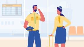 Aircrew Members in Airport Terminal Illustration stock illustration
