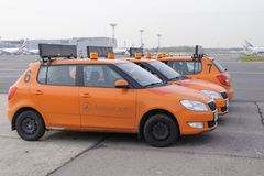 Airdrome car Follow Me at Domodedovo airport Stock Photos