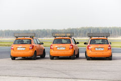 Airdrome car Follow Me at Domodedovo airport Royalty Free Stock Photos