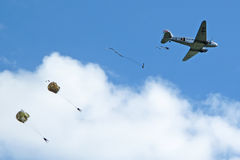 Airdrop from old aircraft Stock Image