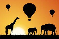 Aire caliente que hincha en África Ilustración del vector