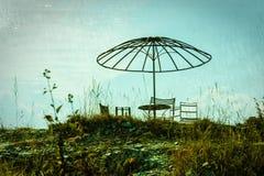 Aire de pique-nique abandonnée images libres de droits
