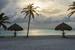 Aire de repos avec des palmiers par la plage dans Aruba Photo libre de droits