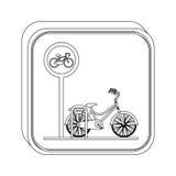 Aire de stationnement de bicyclette de bouton de silhouette Image libre de droits