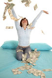 Aire del dinero que lanza Imagen de archivo libre de regalías