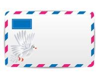 Aire del sobre con la paloma blanca exhausta ilustración del vector