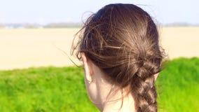 Aire libre hermoso que mira, pelo de la chica joven que sopla en viento en fondo de la naturaleza almacen de video