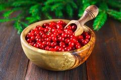 Airela, foxberry, arando, lingonberry em uma bacia de madeira com uma colher em uma tabela de madeira marrom Cercado por ramos do Imagem de Stock