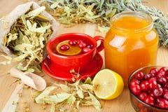 Airelas, frasco com mel e copo de chá do fruto Imagens de Stock Royalty Free