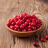 Airelas, uvas-do-monte vermelhas, arandos em uma bacia Imagens de Stock Royalty Free