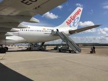 AirEuropavliegtuig in Luchthaven in Duitsland Stock Afbeeldingen