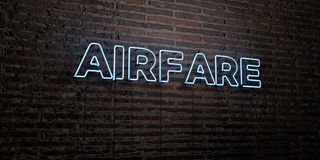 AIRFARE -Realistic Neon Sign on Brick Wall background - 3D rendered royalty free stock image Royalty Free Stock Photos