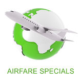 Airfare Specials Means Airplane Promotion And Cost 3d Rendering Royalty Free Stock Photo