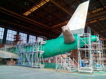 Airfarft Paint Stripping Process. A320 aircraft paint stripping process Royalty Free Stock Photography