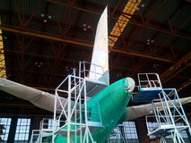 Airfarft Paint Stripping Process. A320 aircraft paint stripping process Royalty Free Stock Photo