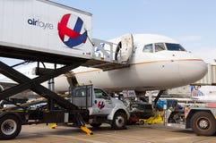 AirFayre顾及的联航 免版税库存照片