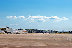 Airfield with airplanes Stock Photography
