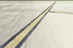 Airfield - marking on taxiway is heading to runway Stock Photo