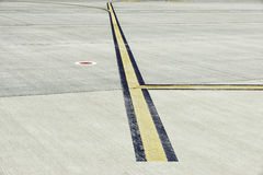 Airfield - marking on taxiway is heading to runway Stock Photography