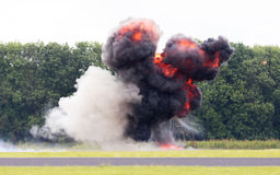 Airfield planned explosion Royalty Free Stock Photography