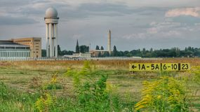Airport Berlin Tempelhof: Airfield and radar tower Stock Photography