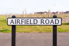 Airfield road sign on a wooden post Royalty Free Stock Photo