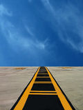 Airfield Runway. Middle line on military airfield runway in Malta / Taxiway marking Stock Images