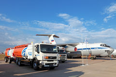 Airfield tanker with the tank-trailer Stock Images
