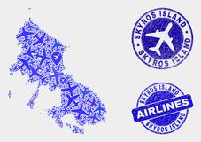 Airflight Collage Vector Skyros Island Map and Grunge Seals. Air plane vector Skyros Island map composition and grunge stamps. Abstract Skyros Island map is royalty free illustration