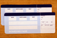 Airflight tickets. Fake flight tickets with empty spaces for your text on the table. Ready to go Stock Photo