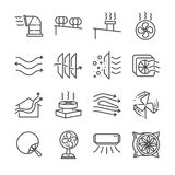 Airflow line icon set. Included the icons as airflow, turbine, fan, air ventilation, Ventilators and more. Line Design Icon Illustration: Airflow line icon set Royalty Free Stock Photography