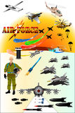 Airforce& aircraft. Military& airforce many of equipment aircraft & rocket etc Stock Photos