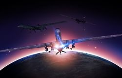 Airforce Drones Mission. Concept Illustration. Military Drones and Planet Earth Sunrise Stock Image