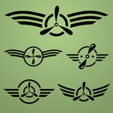 Airforce emblem set. Abstract airforce black emblem set on green background Royalty Free Stock Photos