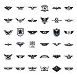 Airforce army badge logo icons set, simple style. Airforce military army badge logo icons set. Simple illustration of 36 airforce military army badge logo vector Royalty Free Stock Images