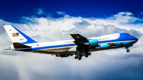 Airforce One. This is a shot of Airforce One departing from Phoenix, Sky Harbor Airport Royalty Free Stock Photo