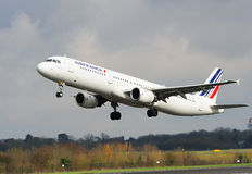 Airfrance Airbus A321. Taking off from Manchester Airport stock photos