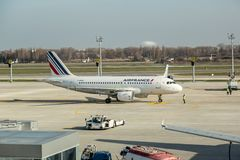 Airfrance  passenger jet at ukraine airport Boryspil Stock Photo
