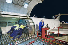Airfreight loading onto Boeing 727 Stock Image
