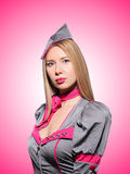 Airhostess against the gradient Royalty Free Stock Images