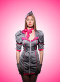 Airhostess against the gradient Royalty Free Stock Photo