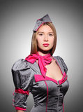 Airhostess isolated on the white Royalty Free Stock Images