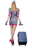 Airhostess with luggage Royalty Free Stock Photos
