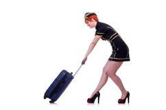 Airhostess med bagage Arkivfoton
