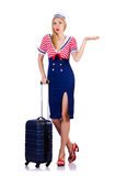 Airhostess med bagage Arkivfoto