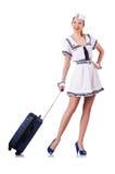 Airhostess med bagage Arkivfoto