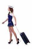 Airhostess med bagage Royaltyfri Bild